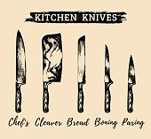 Vector hand drawn kitchen,chefs knives set.Butchers tools illustration.Sketches collection for butchery, restaurant etc.
