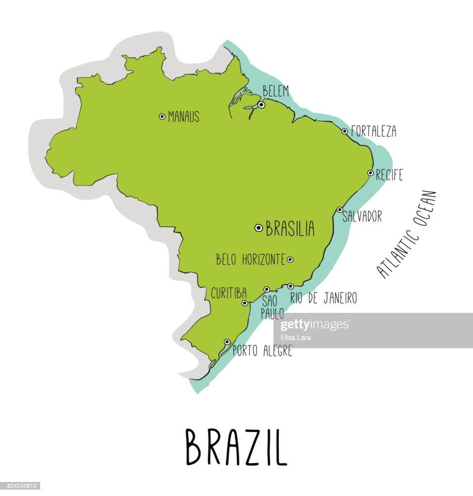 Vector hand drawn map of Brazil with main cities.