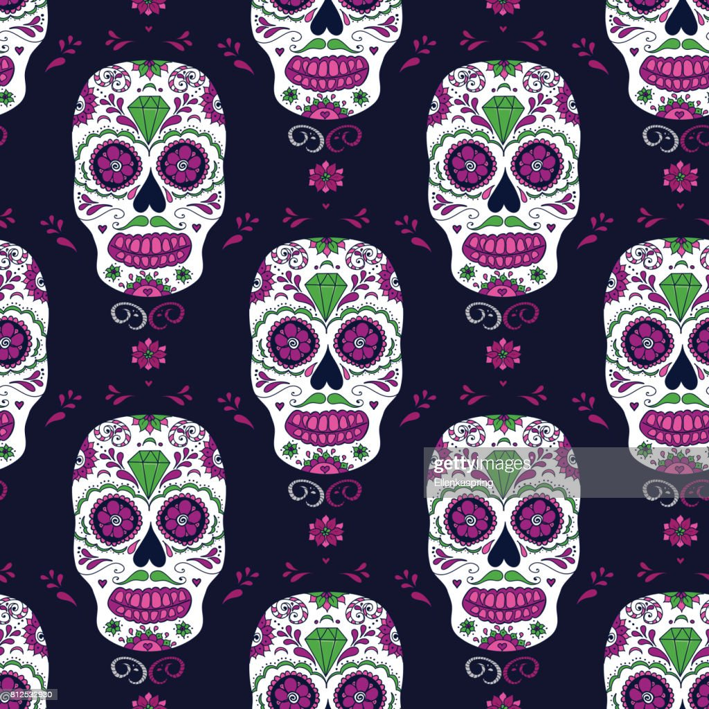 Vector hand drawn Mexican Day of The Dead seamless pattern