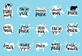 Vector hand drawn milk labels. Signs set for dairy produce. Tags collection for products packaging, advertising etc.