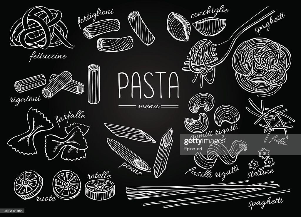 Vector hand drawn pasta menu. Vintage chalkborad line art illust