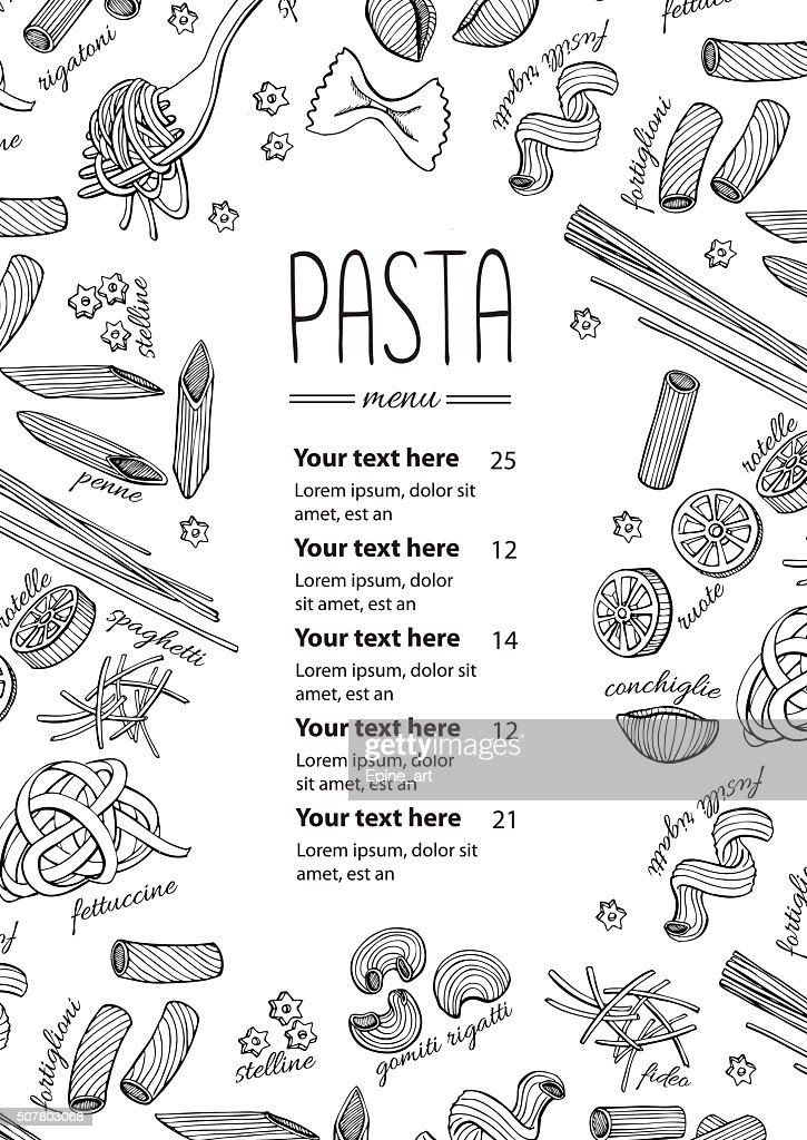 Vector hand drawn pasta menu. Vintage  line art illustration