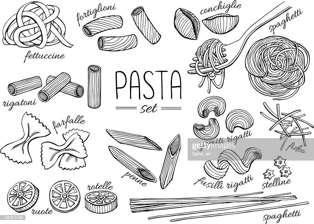 Vector hand drawn pasta set. Vintage line art illustration