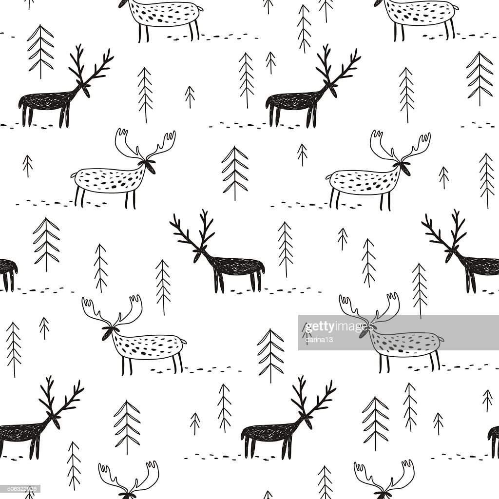 vector hand drawn pattern with deers moose and trees