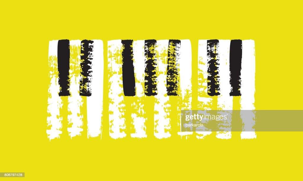 Vector hand drawn piano keyboard.