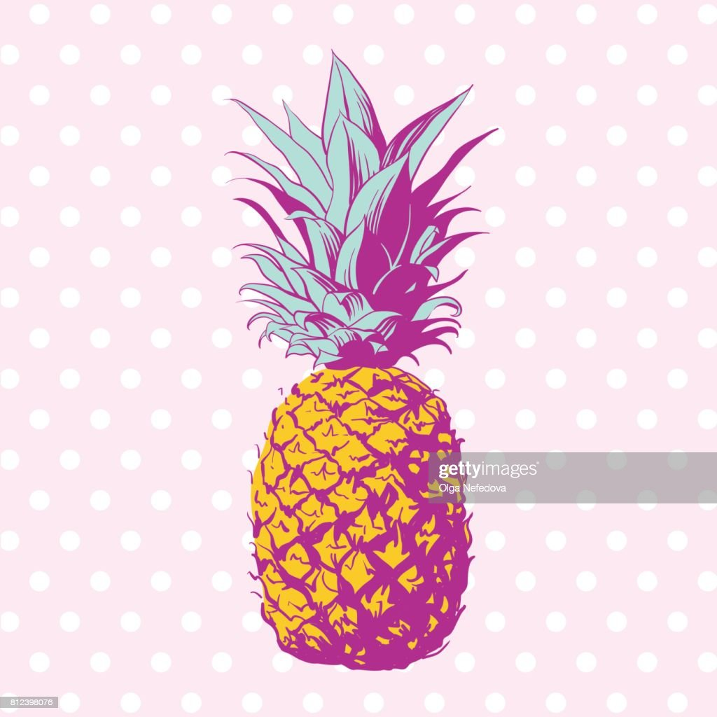 Vector hand drawn pineapple with dotted background.