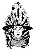 Vector hand drawn portrait of a mysterious witch with a night sky hat and magic crystals.
