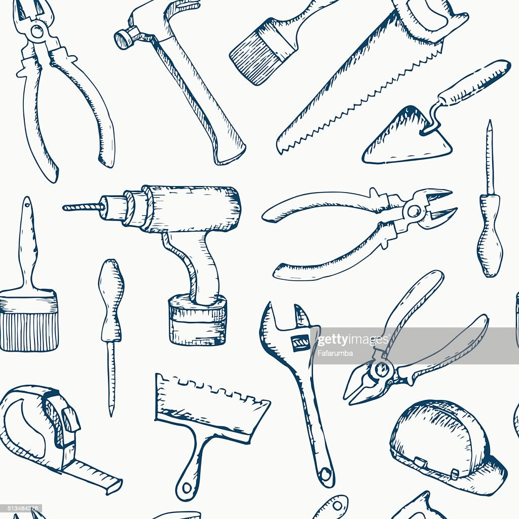 Vector hand drawn repair tools seamless pattern.