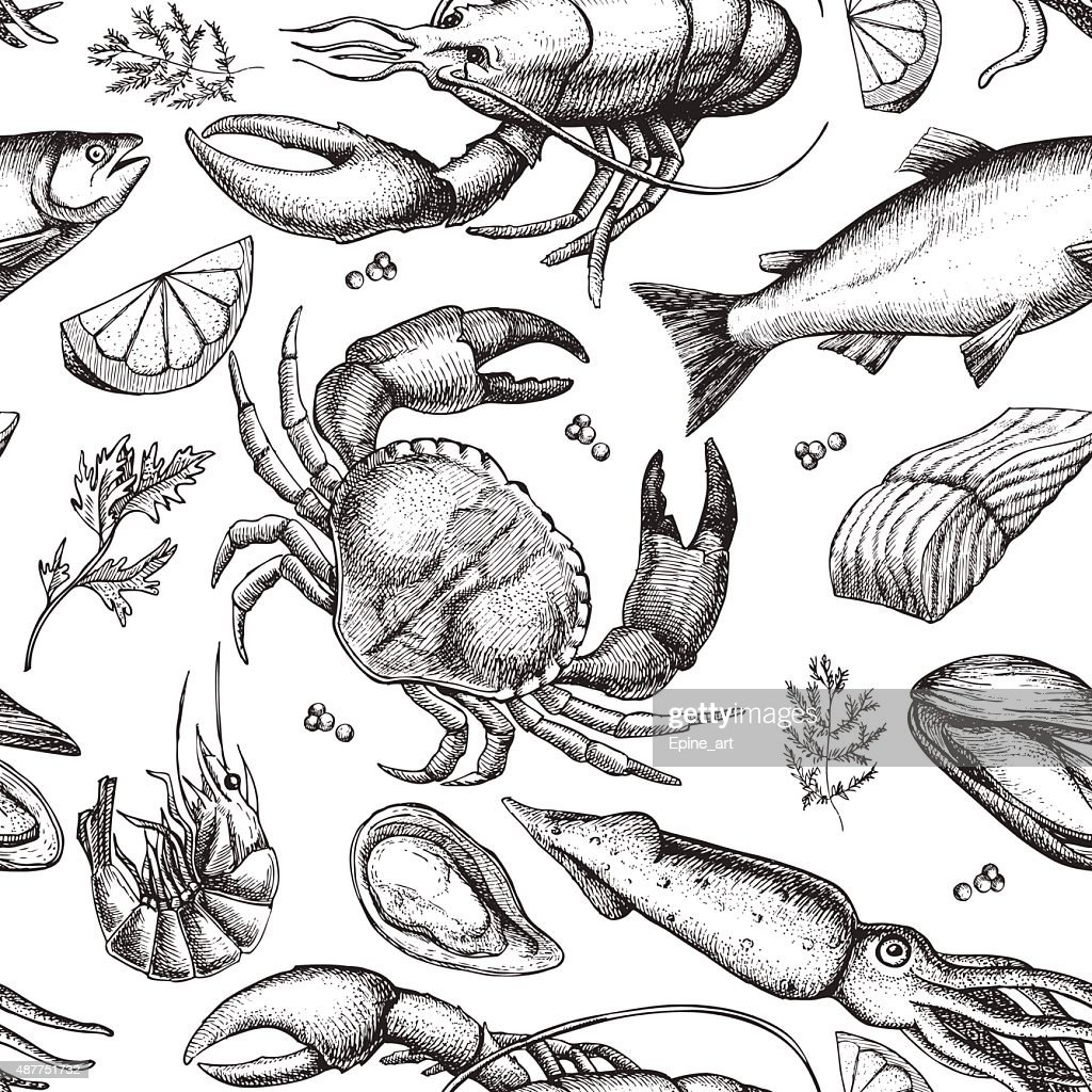 Vector hand drawn seafood pattern. Vintage illustration