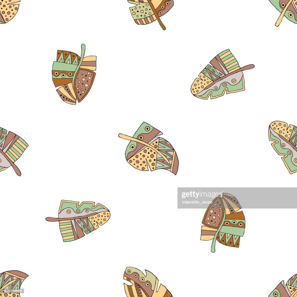 Vector hand drawn seamless pattern, decorative stylized childish feather in the shape of tree. Doodle style, tribal graphic illustration. Ornamental cute hand drawing Series of doodle patterns