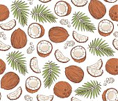 Vector hand drawn seamless pattern with coconuts and tropical leaves.