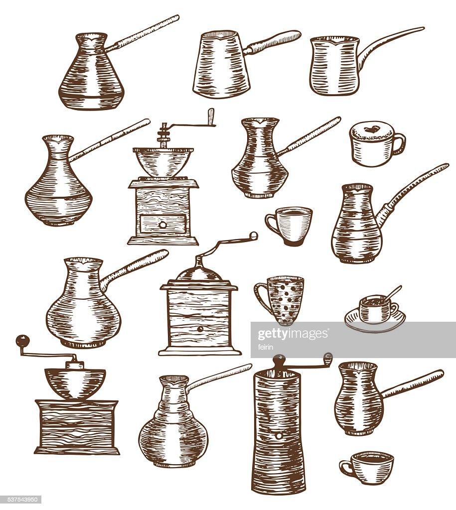 Vektor Handgezeichnet Ein Satz Von Kaffee Und Kuchenutensilien Stock Illustration Getty Images