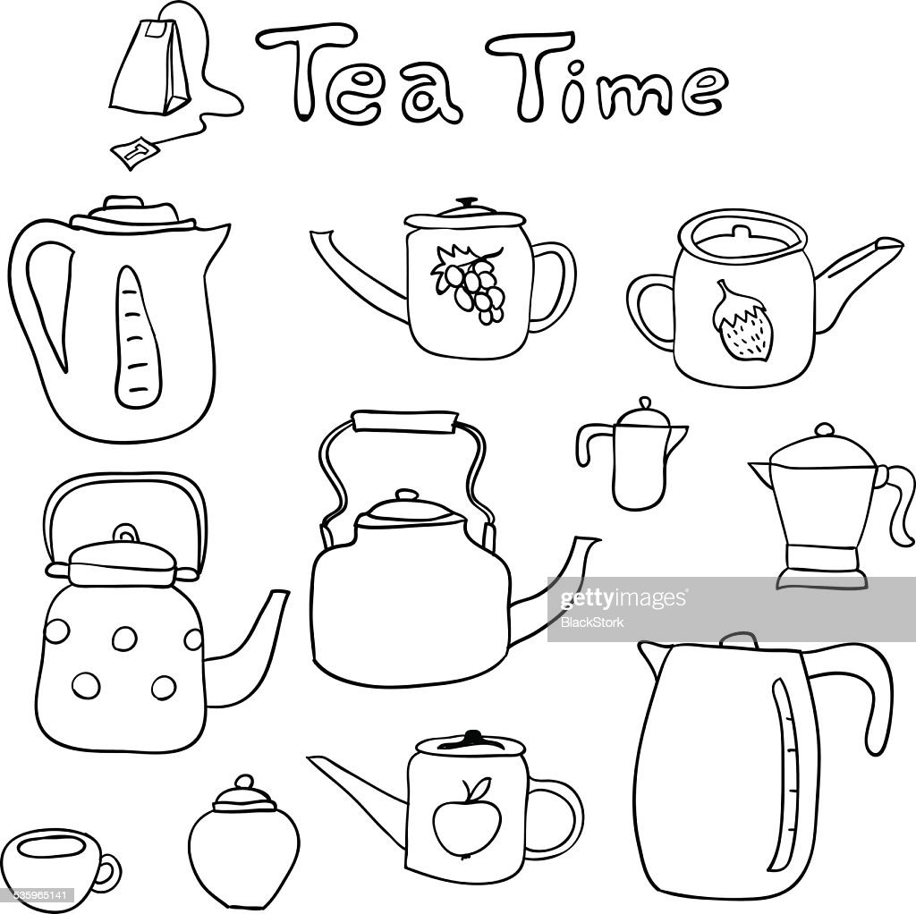 Vector hand drawn set of doodle teapots. : Vector Art