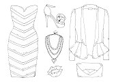 Vector hand drawn set of fashionable women's clothing