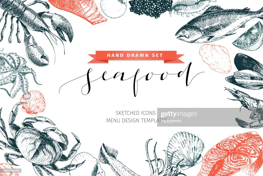 Vector hand drawn set of seafood icons. Lobster, salmon, crab, shrimp, ocotpus, squid and clams. Engraved art. Delicious food menu objects.