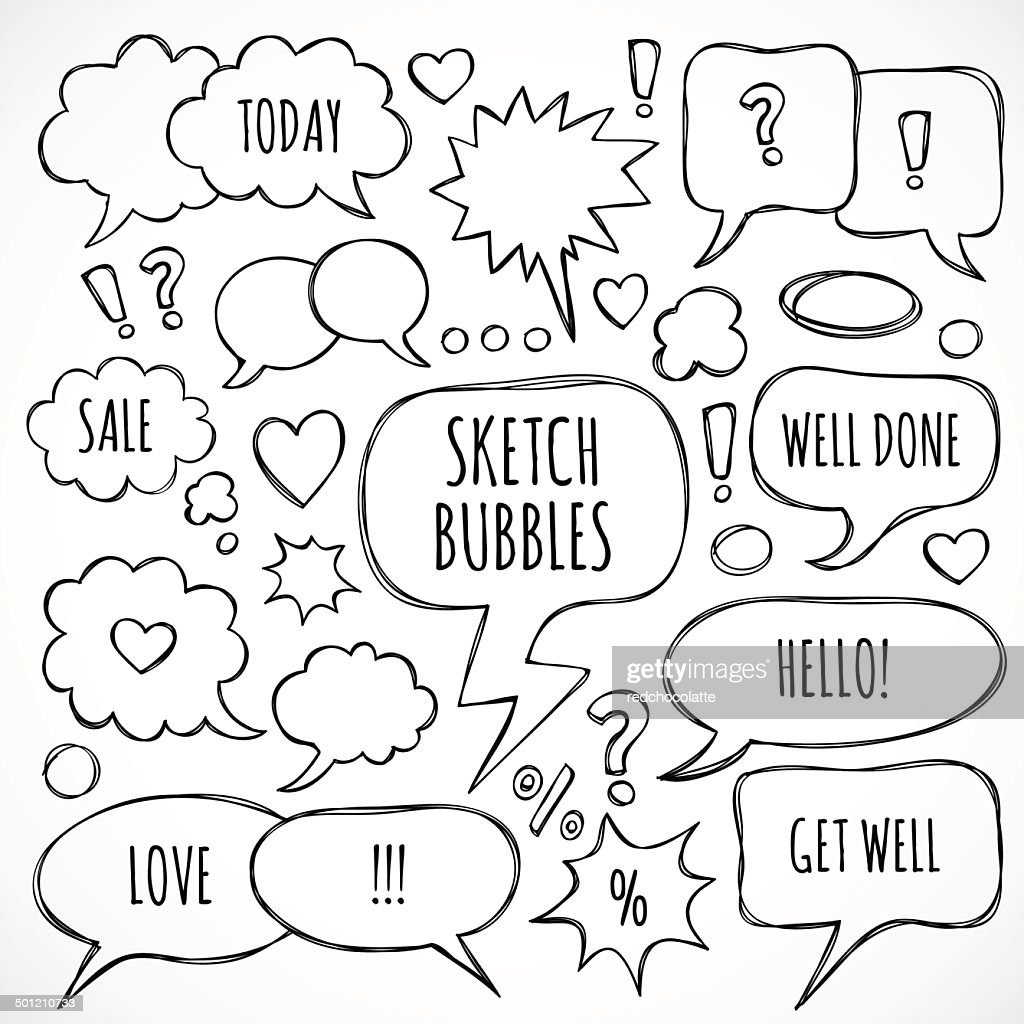 Vector hand drawn set of sketch speech bubbles and clouds