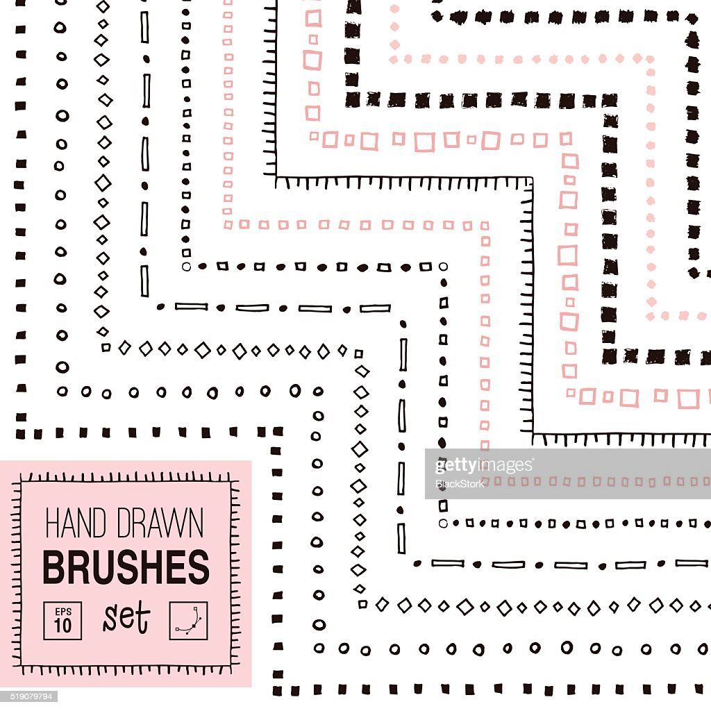 Vector hand drawn simple ornamental brushes set