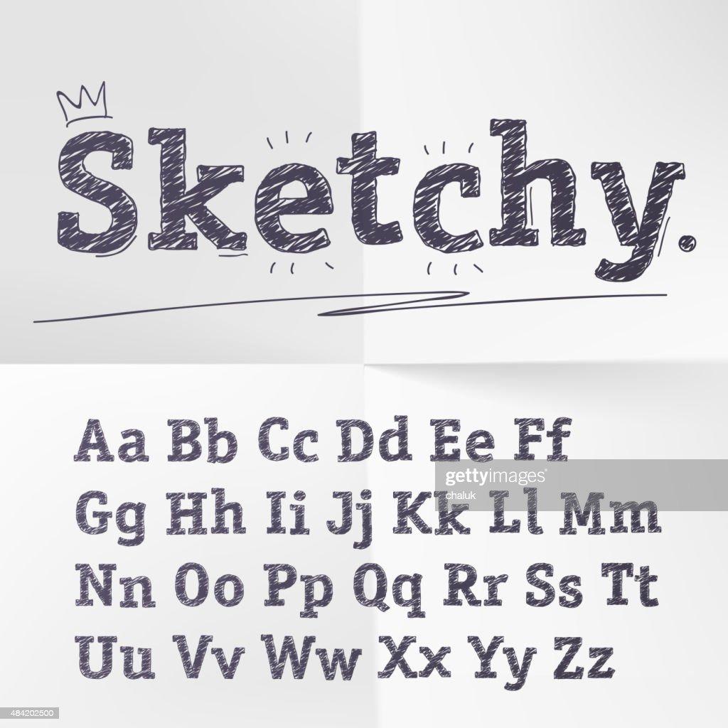 Vector hand drawn sketch latin alphabet.