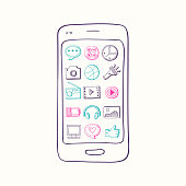 Vector hand drawn smartphone with app icon elements on screen