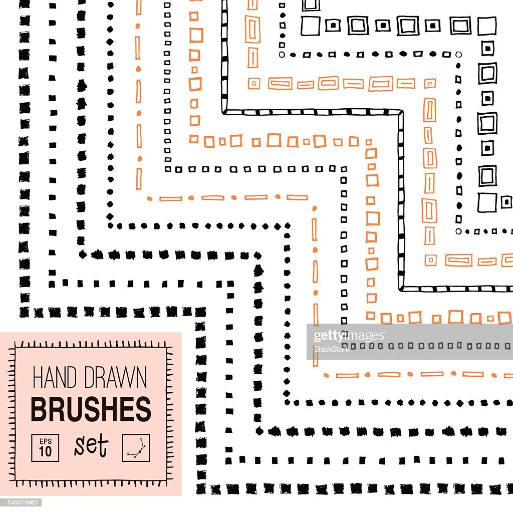 Vector hand drawn square ornamental brushes set