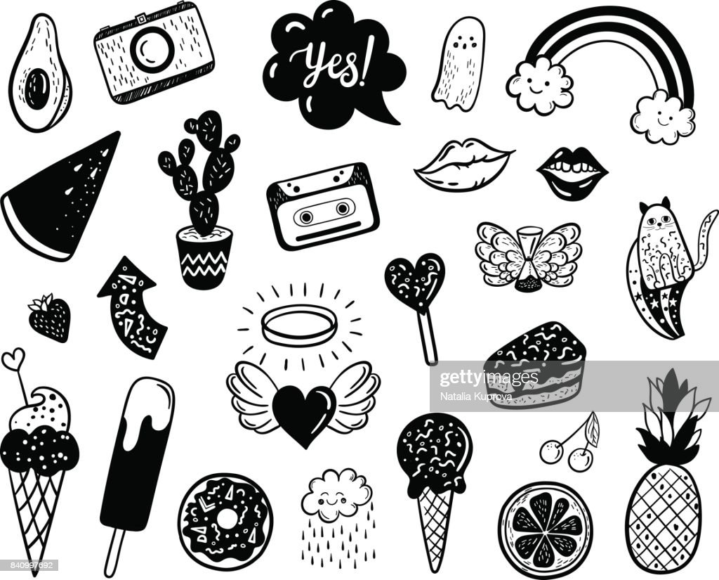 Vector hand drawn summer fashion doodles: ice cream, cactus, watermelon, camera, rainbow, cat, cloud, lip, heart. Modern set of pop art stickers, patches, pins, badges in 80s-90s style
