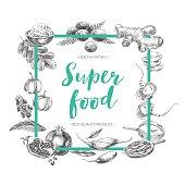 Vector hand drawn superfood Illustration.