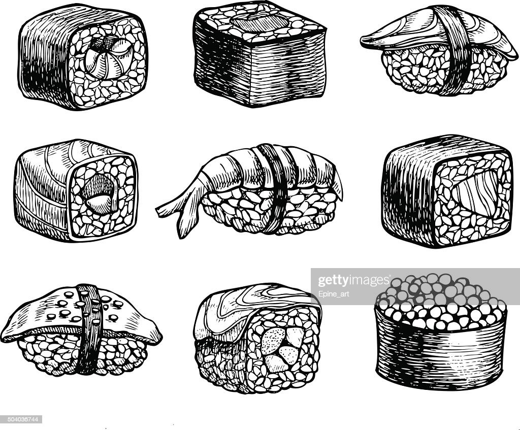 Vector hand drawn sushi set. Vintage sketch illustration.