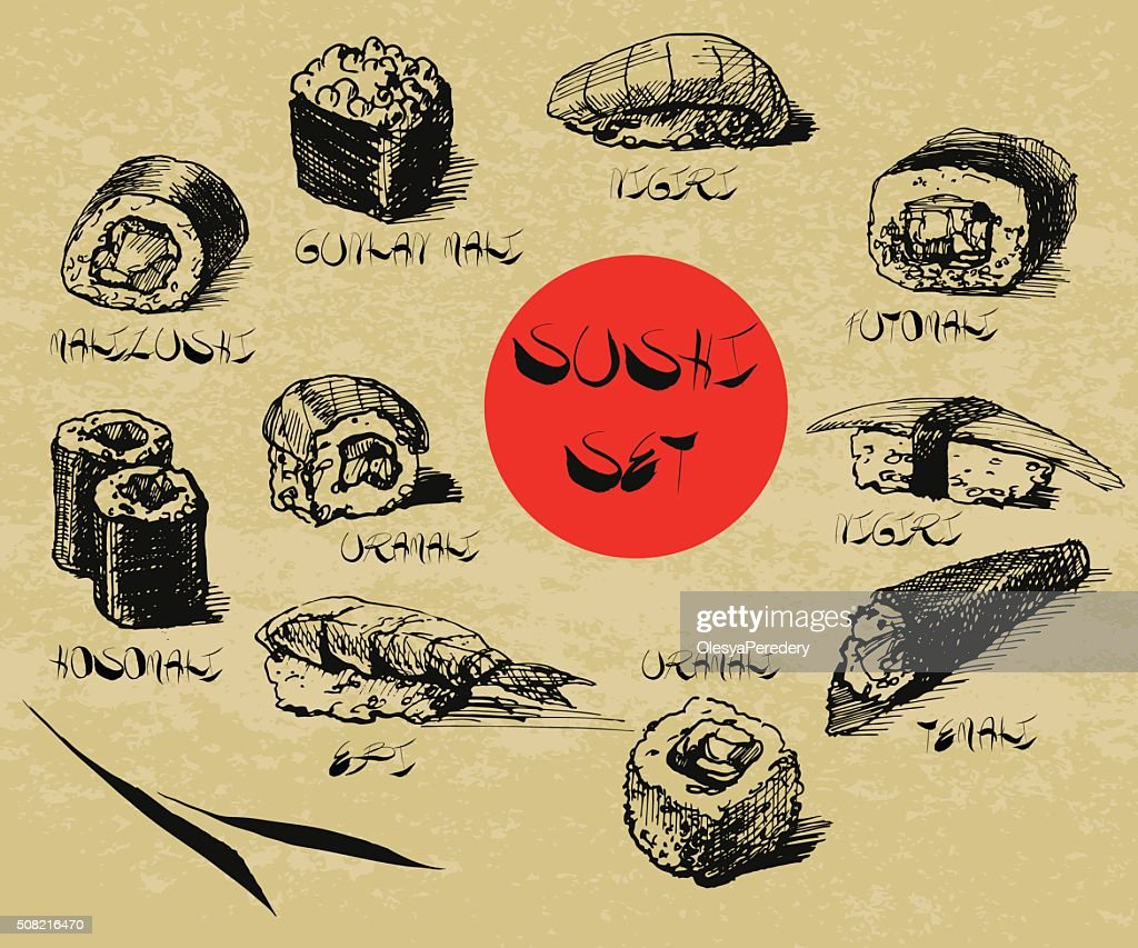 Vector hand drawn sushi set with calligraphic text.