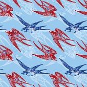 Vector hand drawn swallow birds seamless pattern design