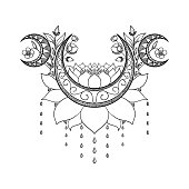 Vector hand drawn tattoo design. Crescent moon, lotus and flowers composition. Sacred theme