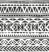 Vector hand drawn tribal print. Primitive geometric background in grunge
