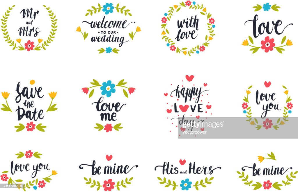 Vector hand drawn typography save the date quote text icon badge design wedding for greeting cards or invitations illustration
