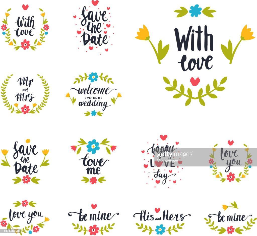Handgezeichnete Typografie Vektor Speichern Datum Zitat Text Logo Abzeichen  Design Hochzeit Für Grußkarten Oder Einladungen Illustration