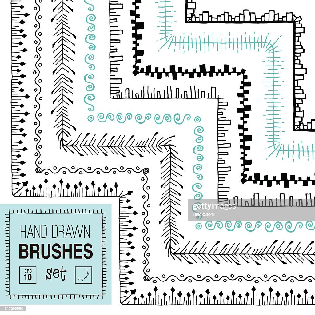 Vector hand drawn vintage ornamental brushes set