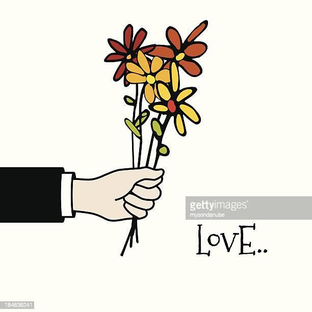Vektor-hand hält einen Haufen Blumen