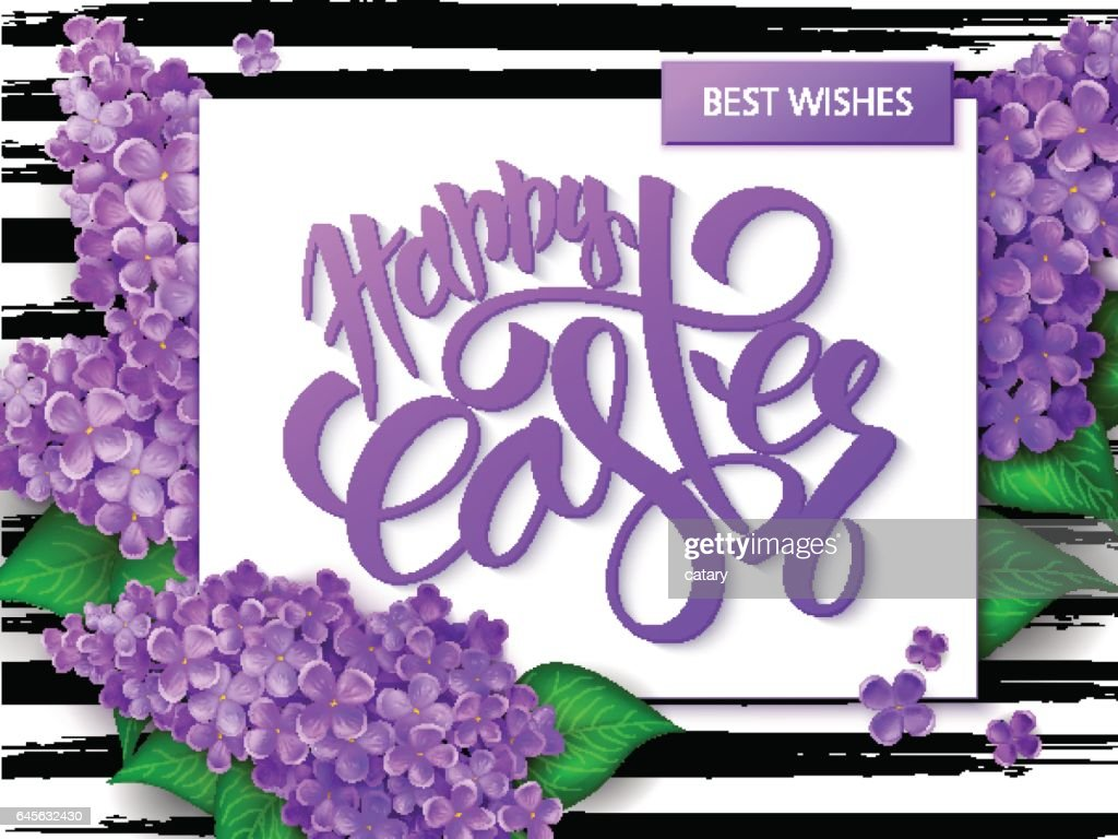 Vector hand lettering happy easter greetings text with paper sheet vector hand lettering happy easter greetings text with paper sheet lilac branches on watercolor strips m4hsunfo