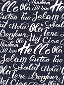 Vector hand lettering text Hello written on different languages. Brushed calligraphy international welcome inscription.
