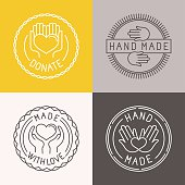 Vector hand made labels and badges