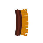 vector hand made wooden brush for clothes and home cleaning.