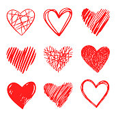 Vector hand pen drawn collection of graphic hearts. Design elements for Valentine's day. Vector hand pen drawn collection of graphic hearts. Design elements for Valentine's day. Pen drawing.