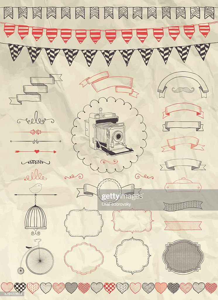 Vector Hand Sketched Doodle Banners, Ribbons and Frames