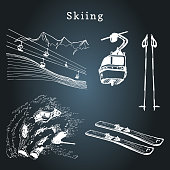 Vector hand sketches of skiing elements.Illustration set for poster, label etc.