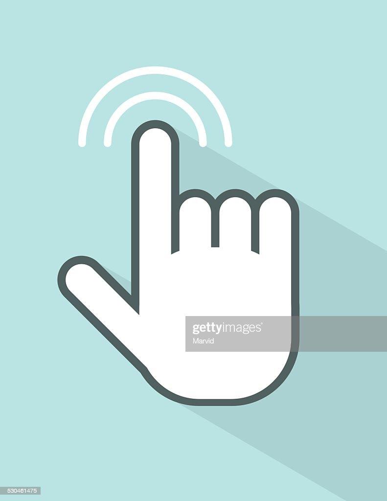 vector hand touching screen