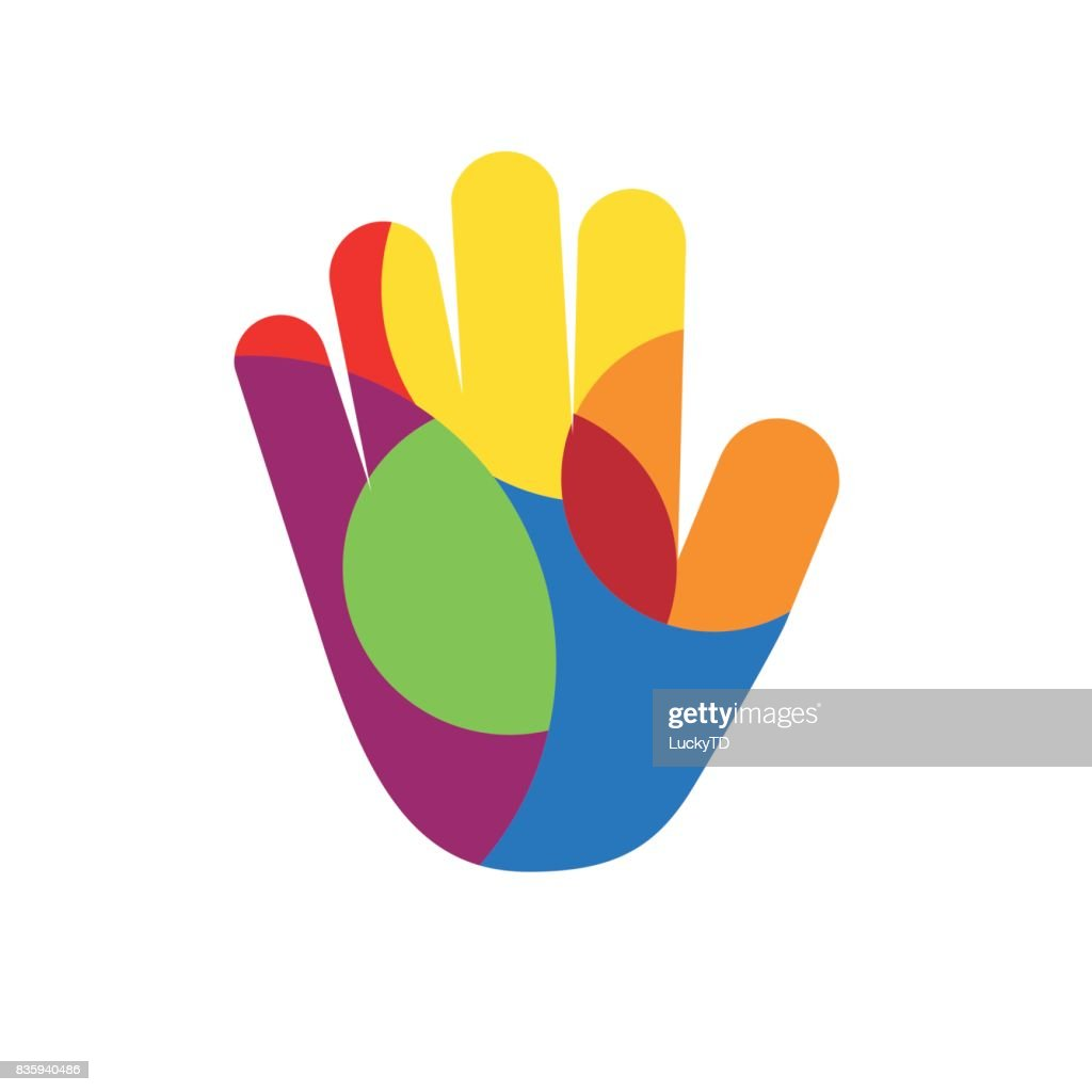 Vector hand with colored circles