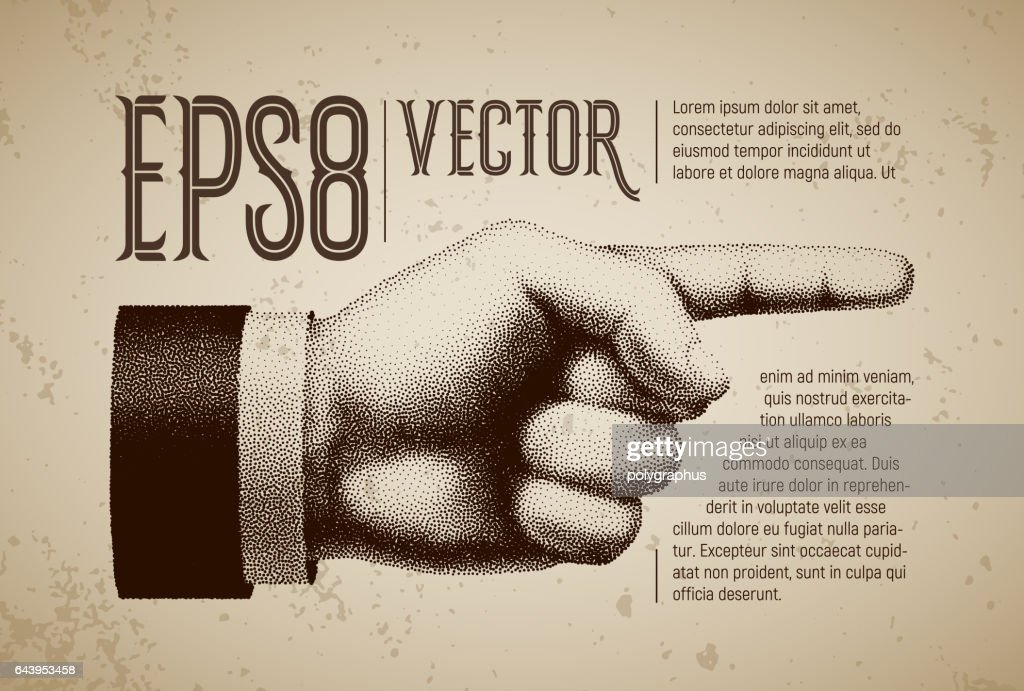 Vector hand with pointing finger in engraving style