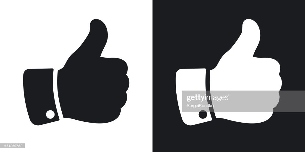 Vector hand with thumb up icon. Two-tone version