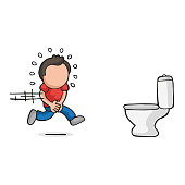 Vector hand-drawn cartoon of man running to pee on toilet bowl