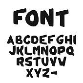 Vector Hand-drawn cute bold Alphabet or font