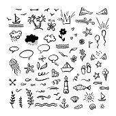 Vector hand-drawn doodle clipart on sea / ocean / summer theme.