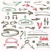 Vector hand-drawn marker arrows